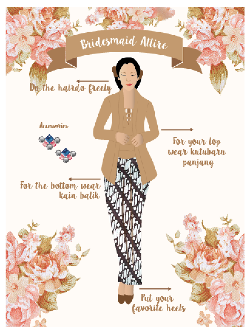 Paperpeace Bridesmaid Card With Kebaya Attire With Brown