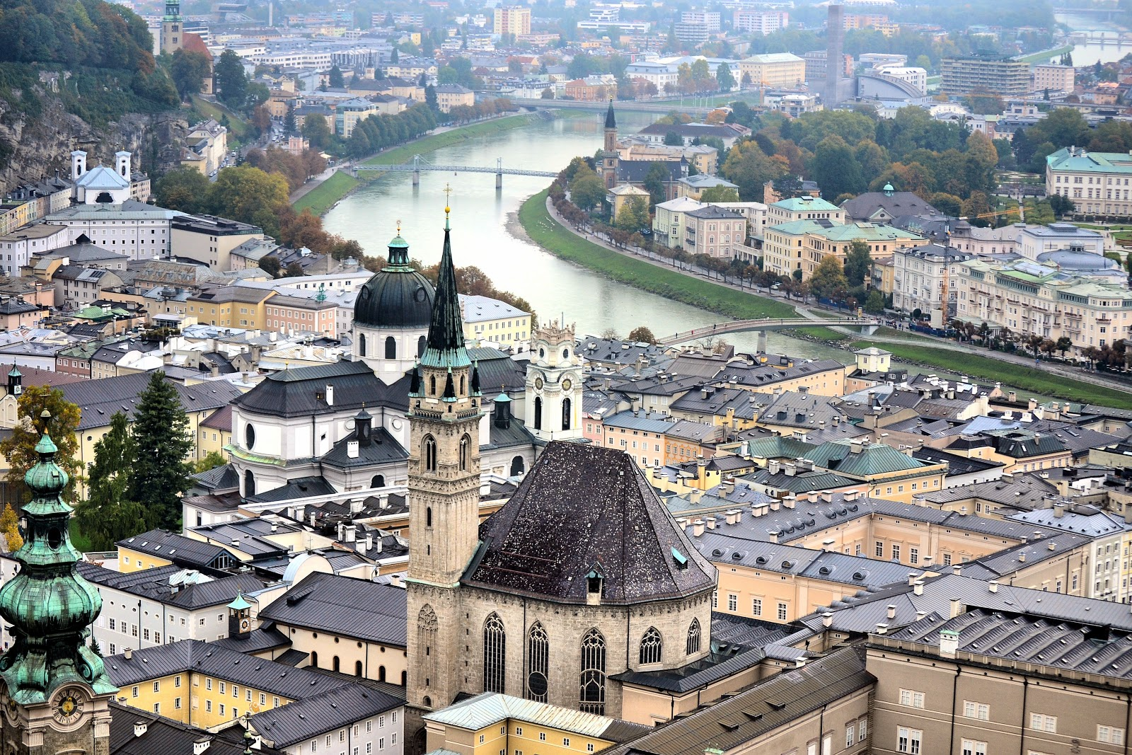 Salzburg, Austria, as seen from the Hohensalzburg Fortress. Click on any photo to enlarge.
