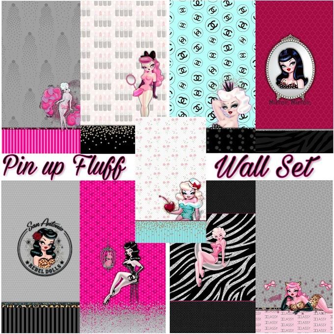 Pin-up girl Fluff wall set