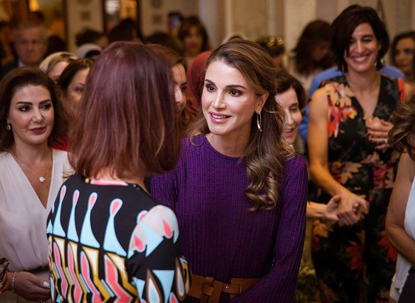 Style of Queen Rania wore Roksanda Ilinčić purple dress, Prabal Gurung bell midi dress, Hillier Bartley midi dress