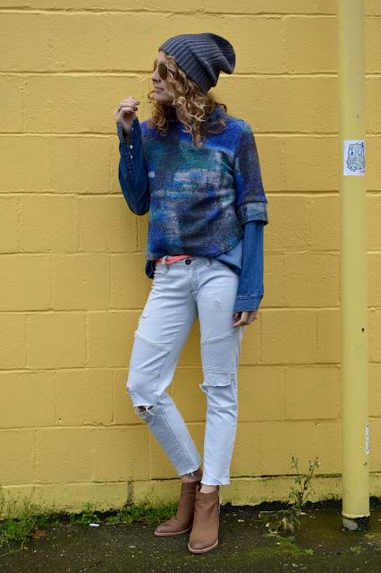 chambray shirt under a sweater