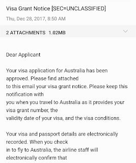 email granted visa turis Australia. 5 hari jadi
