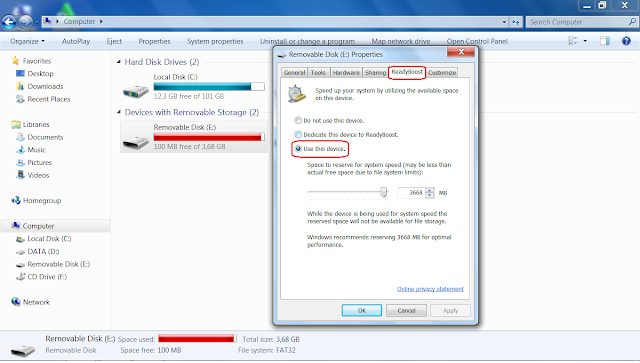 Cara menambah RAM PC dengan Flashdisk