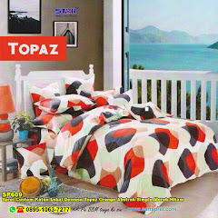 Sprei Custom Katun Lokal Dewasa Topaz Orange Abstrak Simple Merah Hitam
