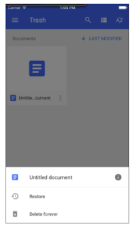 Trash View in Google Docs, Slides, Sheets and iOS apps