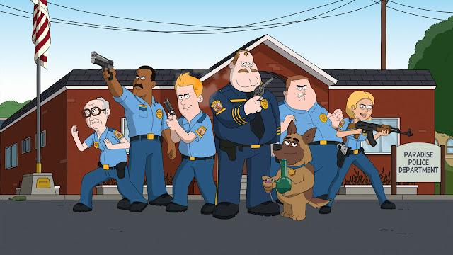 Paradise Police Waco O'Guin Roger Black Netflix desenho serie 99 simpsons