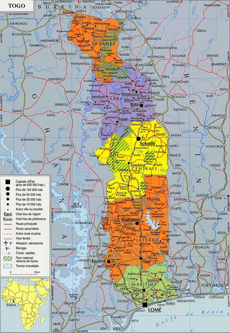 Mapas Geográficos de Togo