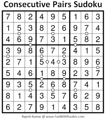Consecutive Pairs Sudoku (Daily Sudoku League #180) Solution