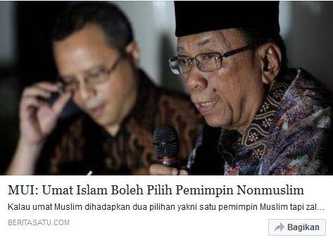 Melawan lupa Dulu 2012 MUI: Umat Islam Boleh Pilih Pemimpin Nonmuslim