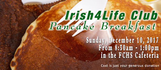 Fisher Catholic Pancake Breakfast ad with pancakes, syrup and fork