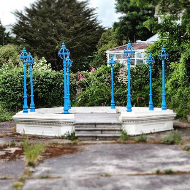 Broken blue gazebo in Sorrento Park near Dalkey Ireland