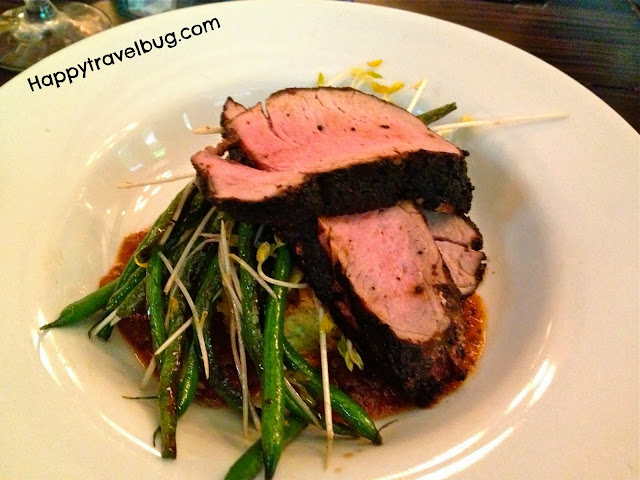 Pork tenderloin with green beans and feta-zucchini spoon bread