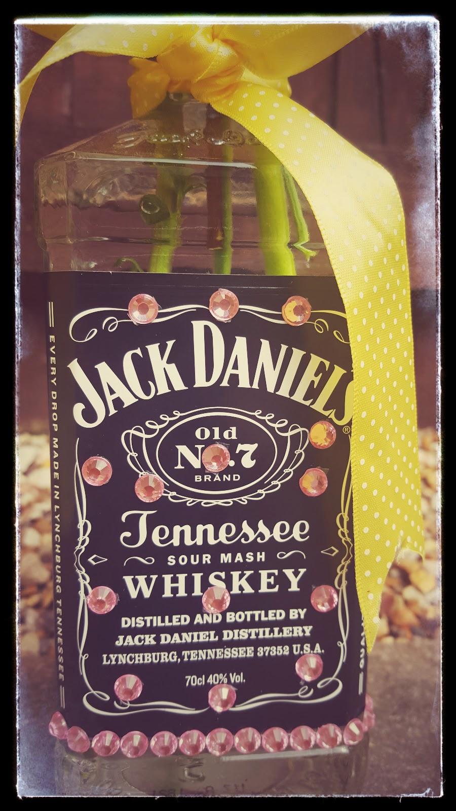 Up-cycled Jack Daniels Bottle : Flower Vase