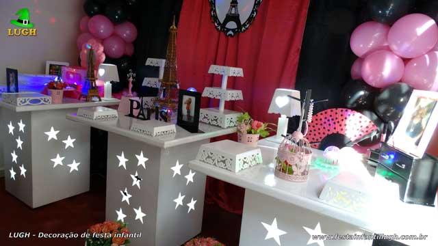 Decoração de mesa tema Paris - Festa de aniversário feminino