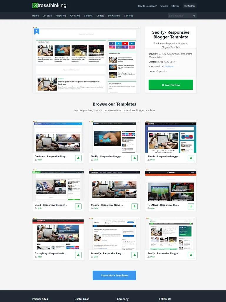 Mẫu blogger tải và bán theme dạng lưới load more