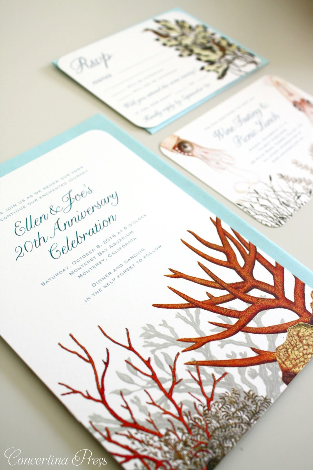 Coral Reef Wedding Invitation Set  with seahorse RSVP and Squid information cards