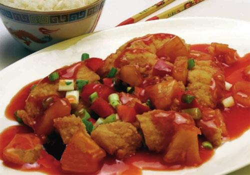 Pota oriental en salsa agridulce