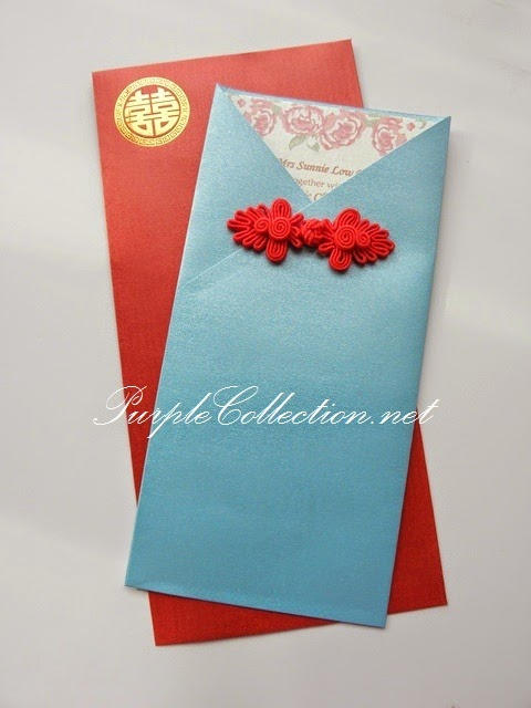 Red Chinese Button Wedding Card, custom design, handmade, 婚礼邀请卡片, hand crafted, hot stamping, envelope, pearl red, light blue, turquoise, kuala lumpur, selangor, kuantan, pahang, ipoh, perak, penang, johor bahru, singapore, bentong, personalised, personalized, kad kahwin, oriental, modern, traditional,