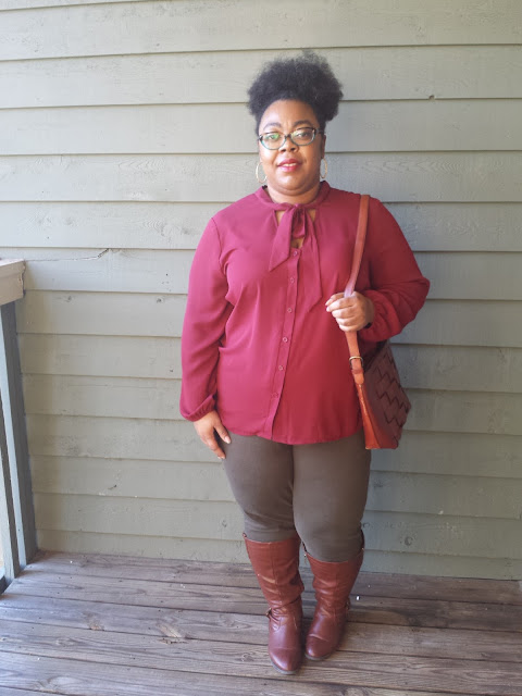 plus size pussy bow secretary blouse, olive green jeggings, cognac knee high boots