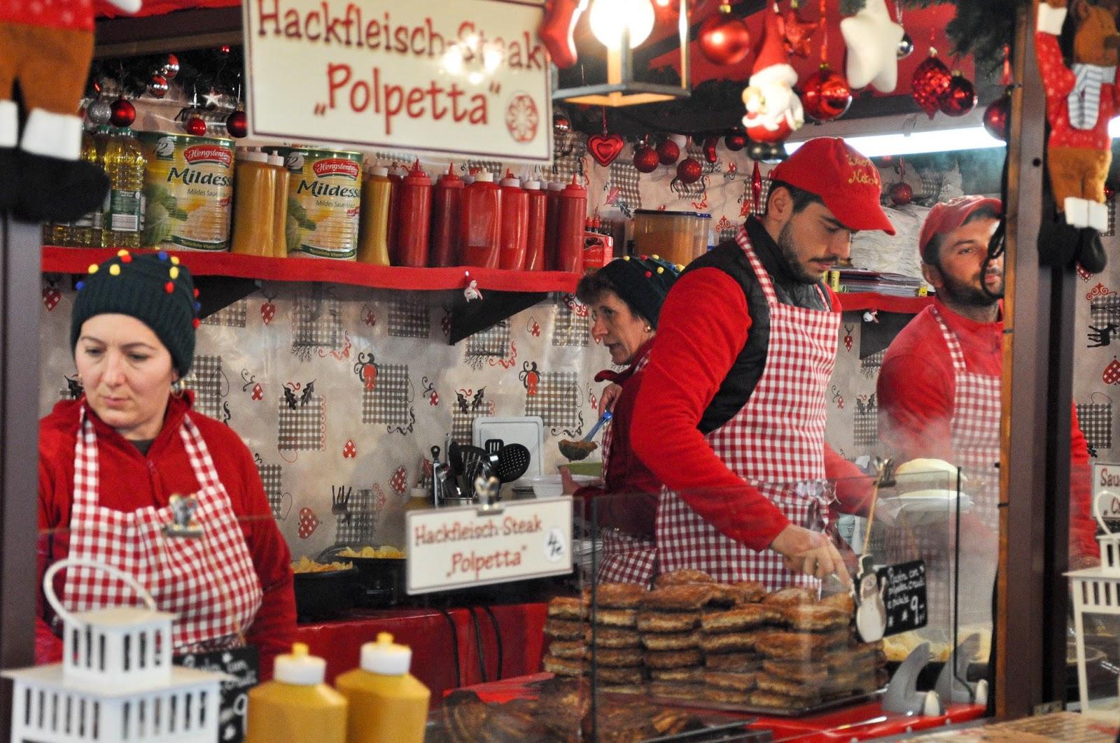 A food stall, Nuremberg Christmas market, Verona, Italy