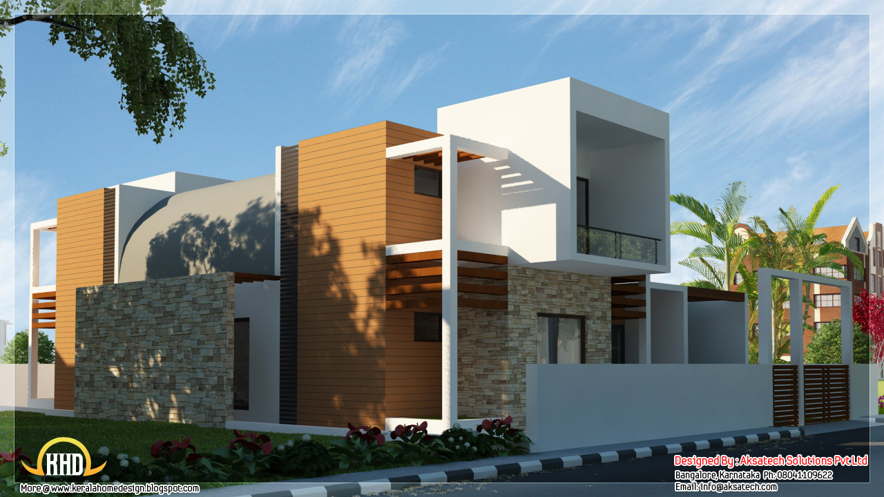 Beautiful contemporary home designs kerala home design for Modern house front view design