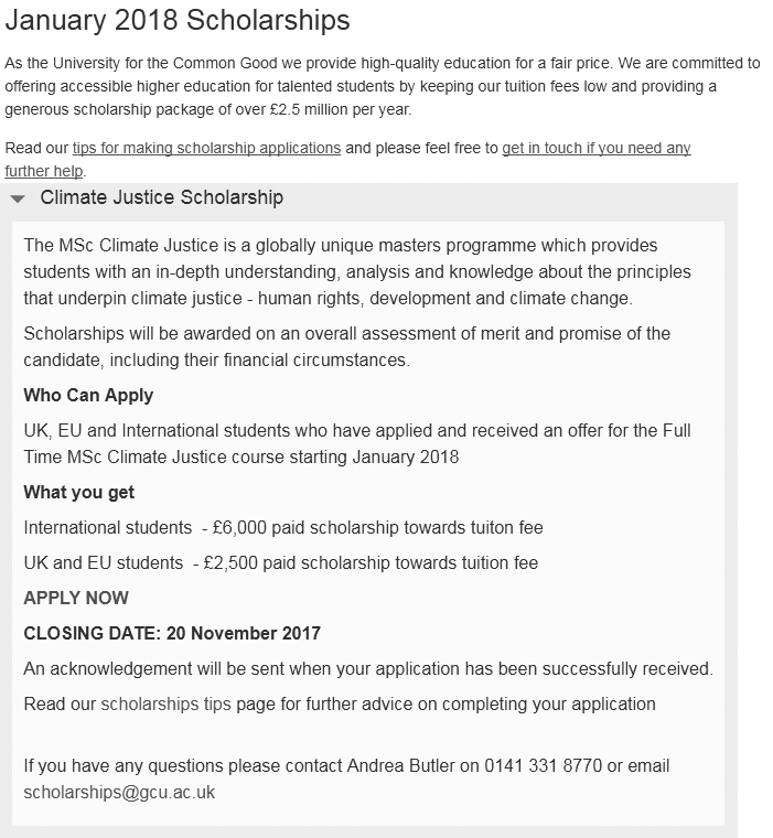 scholarship notice, sholarship for pakistani students, study abroad, study visa, study visa for pakistan, GCU MSc Scholarship in Climate Justice for Pakistani Students in UK - 2018