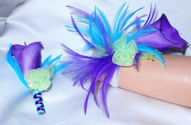 prom purple blue corsages
