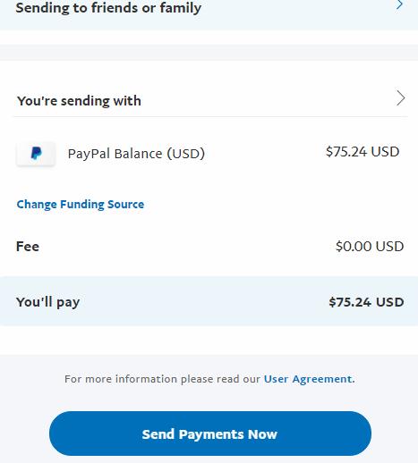Khắc phục sự cố không thể gửi tiền cho bạn bè và người thân trong paypal
