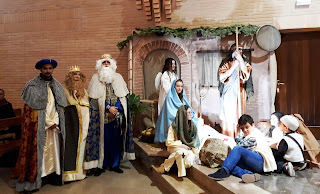 Belén viviente en la misa de Navidad