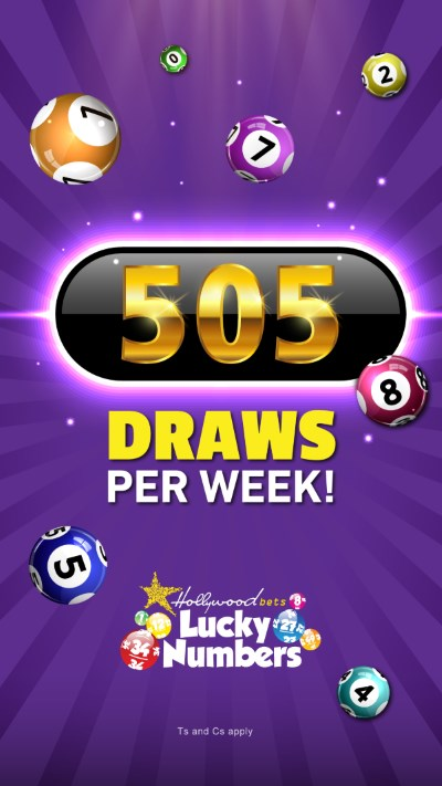 505 Lucky Numbers Draws per week at Hollywoodbets - Lotto Balls