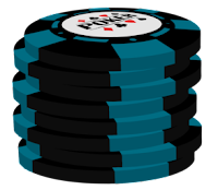 light blue on black poker chip stack