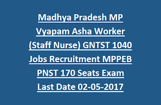 Madhya Pradesh MP Vyapam Asha Worker (Staff Nurse) GNTST 1040 Govt Jobs Recruitment MPPEB PNST 170 Seats Exam Last Date 02-05-2017