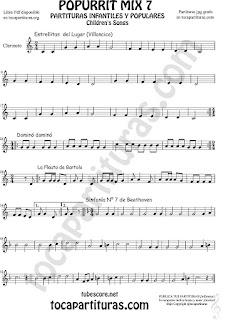Popurrí Mix 7 Partitura de Clarinete Campanitas del Lugar Dominó La Flauta de Bartolo Sinfonía Nº 7 Beethoven Popurrí Mix 7 Sheet Music for Clarinet Music Score