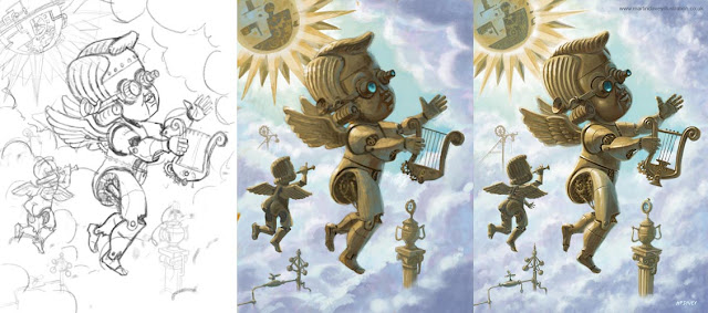 Martin Davey illustration of steam punk cherubs in stages