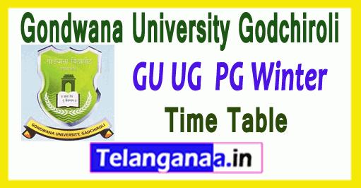 Gondwana University Godchiroli UG PG Winter Exam Time Table