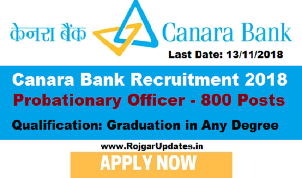 Canara Bank Recruitment 2018 for Probationary Officer