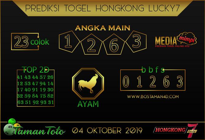 Prediksi Togel HONGKONG LUCKY 7 TAMAN TOTO 04 OKTOBER 2019