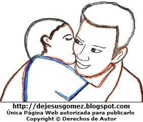Dibujo de un hijo dándole un beso a su padre. Dibujo por el Día del padre de Jesus Gómez