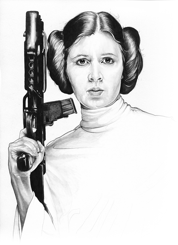 13-Carrie-Fisher-Princess-Leia-Organa-Corbyn-S-Kern-Game-of-Thrones-Star-Trek-and-Star-Wars-Character-Drawings-www-designstack-co
