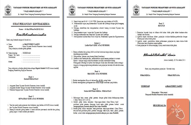 Contoh Surat Perjanjian Kontrak Kerja Guru Paud Download