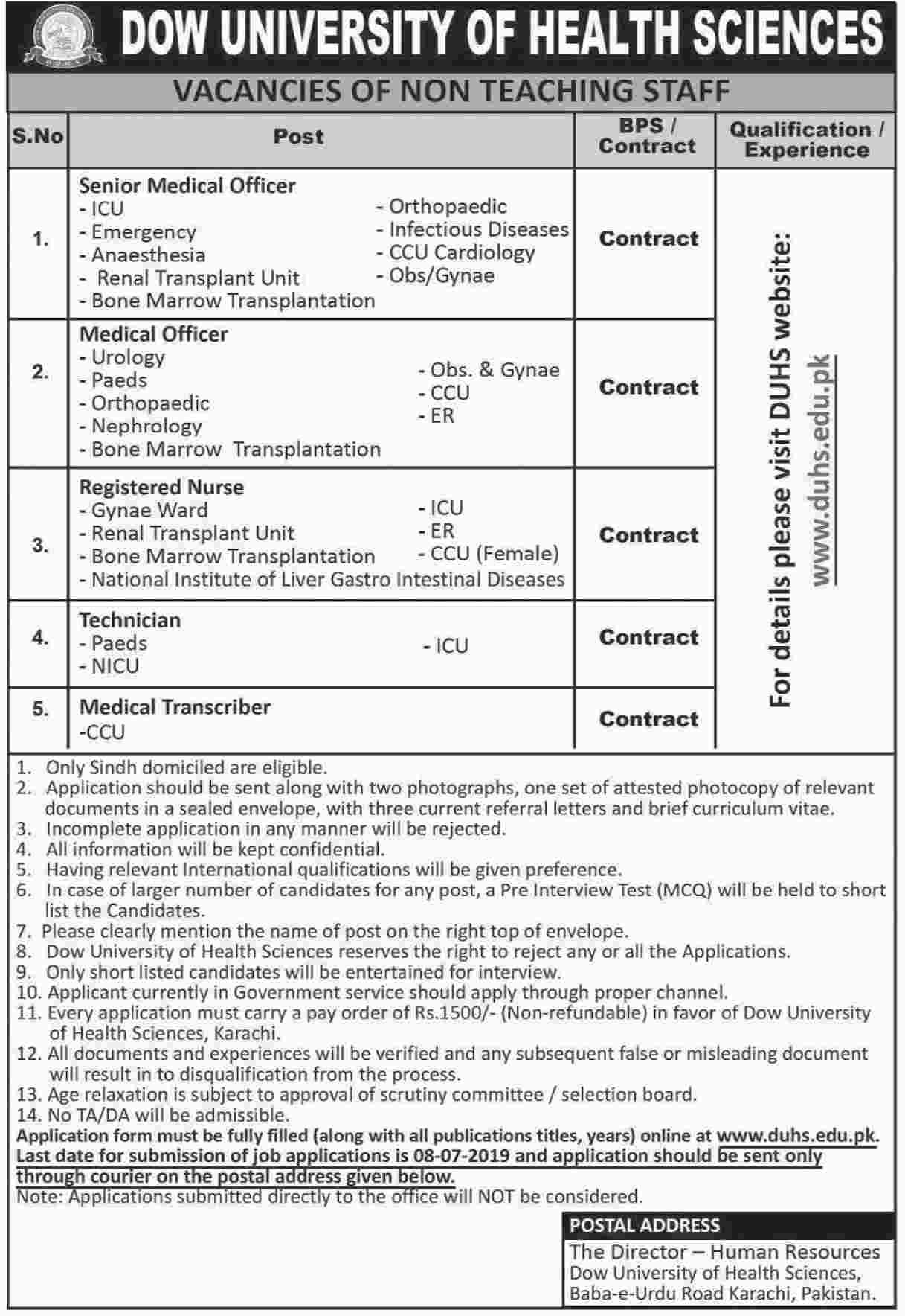 New Jobs Dow University Of Health Sciences, Karachi 24 Jun 2019