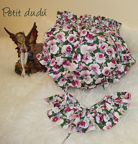 Cubrepañal y Cuello flores Niña Petitdudu