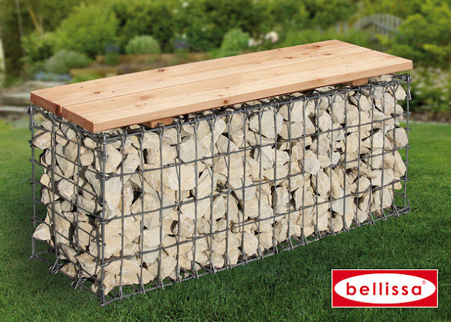 gabion de jardin pierre metal bellissa banc de jardin en gabion bellissa. Black Bedroom Furniture Sets. Home Design Ideas
