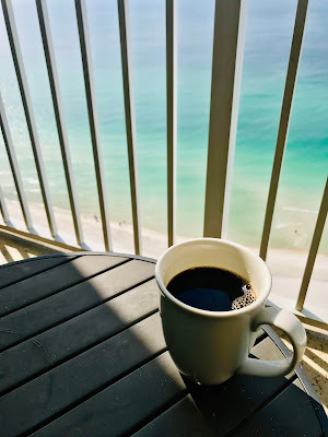 Morning coffee and the ocean, priceless