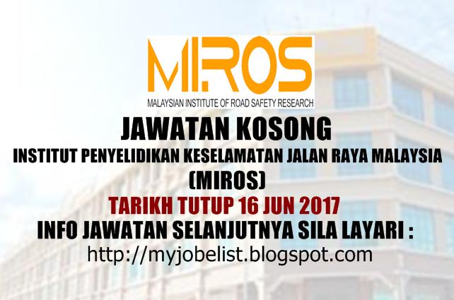 Jawatan Kosong Kerajaan Terkini di MIROS Jun 2017