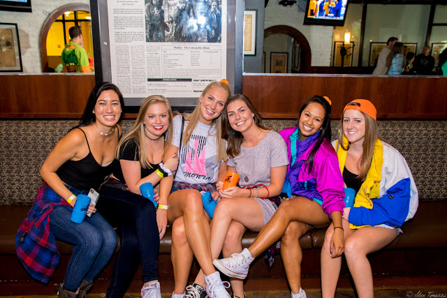 A group of girls dress in their 90's gear at the 90's Bar Crawl in Washington, DC