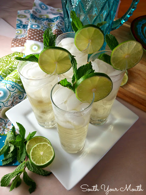 Mandy's Mojitos! Whip up a pitcher with easy mint simple syrup (seriously, it's crazy easy), fresh limes, rum or tequila and lemon-lime soda.