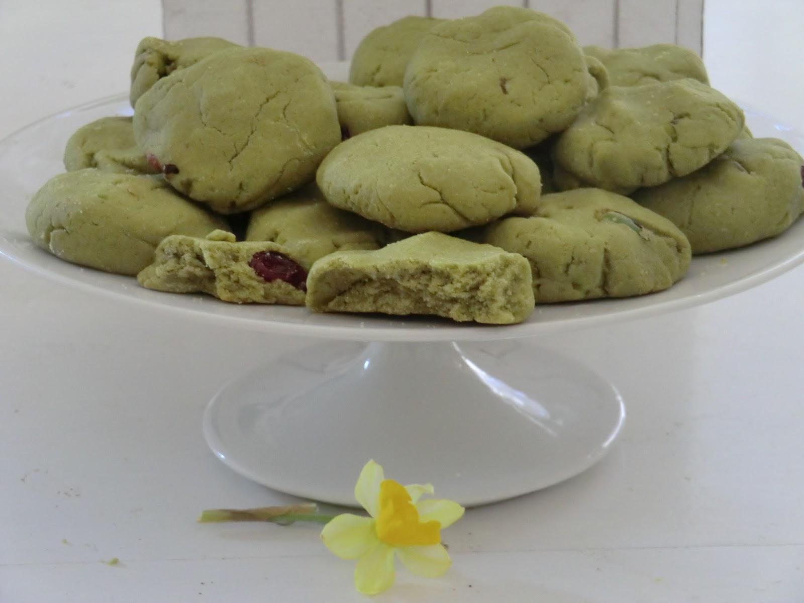 Biscuits Au The Vert Matcha Pistaches Et Cranberries Sans Gluten Ni
