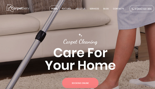 CarpetServ wordpress theme for cleaning companies to host a website