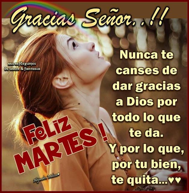 GRACIAS SEÑOR  Nunca te canses de dar gracias a Dios por todo lo que te da. y por lo que, por tu bien, te quita...   FELIZ MARTES